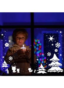 Fensterbild Weihnachtswald mit Rentieren Sternen und Schneeflocken M1230