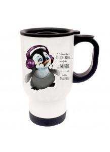 Thermobecher Pinguin mit Kopfhörer und Spruch wenn die Pflicht ruft... tb056
