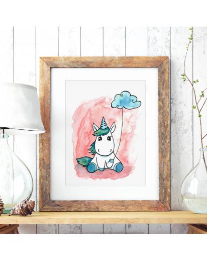 A3 Print Illustration Einhornposter Einhornplakat Poster Plakat kleines junges Einhorn Babyeinhorn mit Wolke A3 Print illustration unicorn poster unicorn placard little unicorn with cloud p73