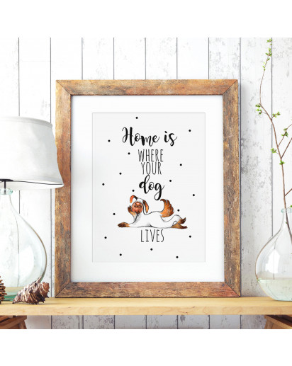 A3 Print Illustration Hundeplakat Hundeposter Poster Plakat mit Hund und Spruch home is where your dog lives A3 Print illustration poster placard with dog and quote saying home is where your dog lives p71