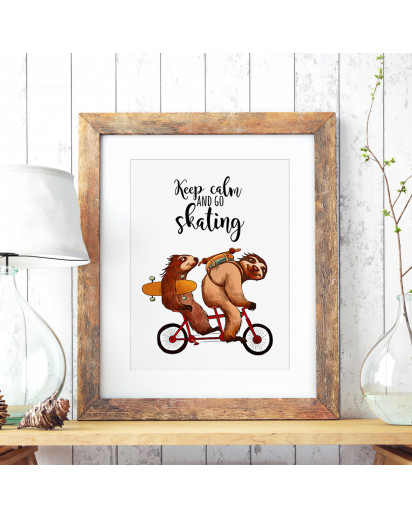 A3 Print Illustration Poster Plakat Faultierplakat Faultiere auf Fahrrad mit Skateboards Longboards und Spruch Keep calm and go skating A3 Print illustration poster placard sloth placard sloths on bicycle with skateboards longboards and quote saying keep