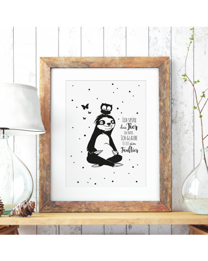 A3 Print Illustration Poster Plakat Faultierplakat Faultierposter Faultier mit Eule und Spruch Zitat Sprichwort Ich spüre das Tier in mir... ich glaube es ist ein Faultier A3 Print illustration poster placard sloth with owl and quote saying i feel the ani