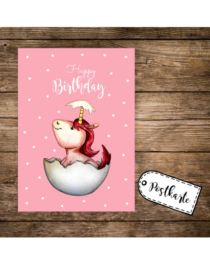 A6 Postkarte Grußkarte Karte Print Illustration geschlüpftes Baby Einhorn mit Spruch Happy Birthday A6 postcard greeting card print illustration print hatched baby unicorn with saying happy birthday pk85