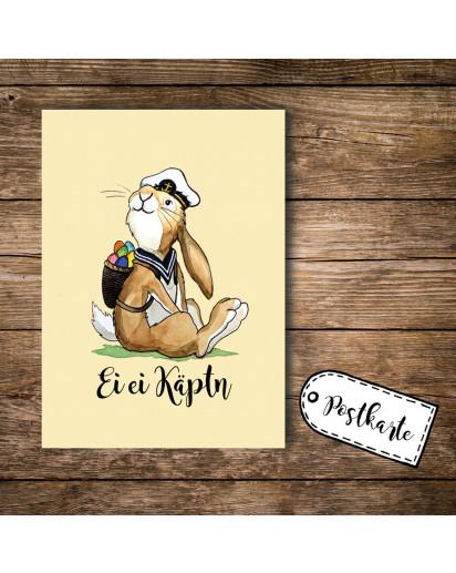 A6 Postkarte Ansichtskarte Osterkarte Flyer Print Hase Osterhase mit Spruch Ei Ei Käptn A6 postcard print easter card bunny rabbit with quote ei ei captain pk101_H.jpg