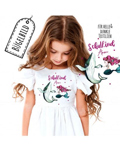 Bügelbilder zur Einschulung Wal mit Meerjungfrau & Wunschname Schulkind Applikation Kissen Shirt Taschen Bügelbild Bügelmotiv Patch in A5 bb175