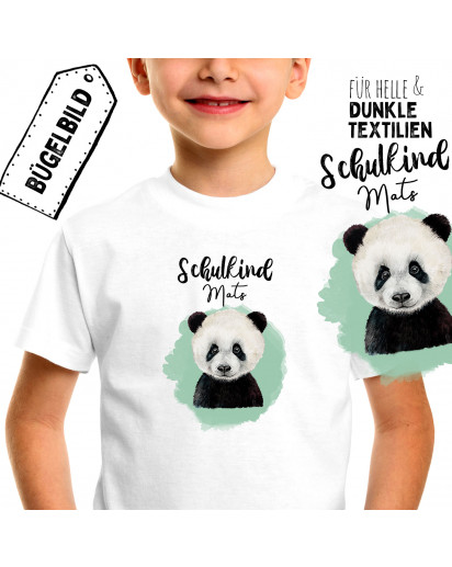 Bügelbilder zum Schulanfang Panda Bär & Wunschname Schulkind Applikation Kissen Shirt Taschen Bügelbild Patch in A5 bb176