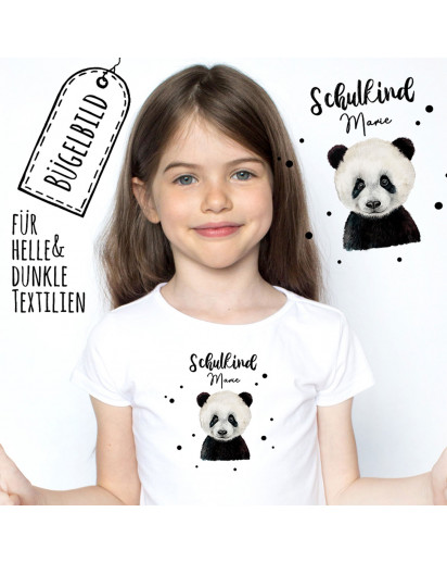 Bügelbilder zum Schulanfang Panda Bär mit Punkte & Wunschname Schulkind Applikation Kissen Shirt Taschen Bügelbild Patch in A5 bb177