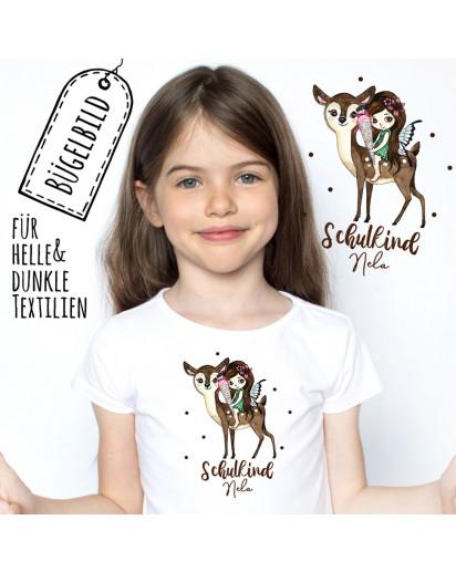 Bügelbilder zur Einschulung Fee auf Reh & Wunschname Schulkind Applikation Kissen Shirt Taschen Bügelbild Patch in A5 bb179