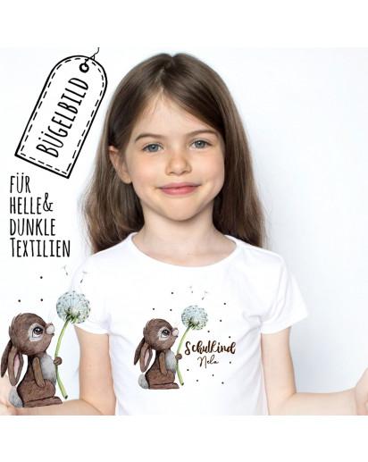Bügelbilder zum Schulstart Hase mit Pusteblume & Wunschname Schulkind Applikation Kissen Shirt Taschen Bügelbild Patch in A5 bb186