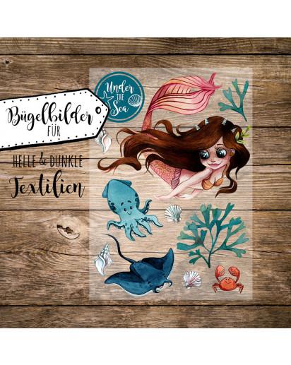 Bügelbilder Meerjungfrau mit Freunde Under the Sea Applikation Kissen Shirt Taschen Bügelbild Patch in A5 bb188