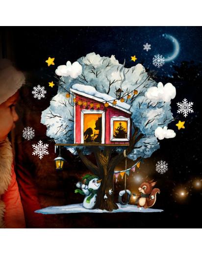 Fensterbild Weihnachtsdeko Weihnachten Baum Baumhaus Schnee Schneemann wiederverwendbar Fensterdeko Winter Fensterbilder Kinder Zimmer bf142