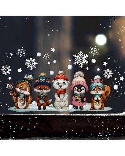 Fensterbild Weihnachtsdeko Weihnachten Weihnachtsfreude Tierkinder Freunde wiederverwendbar Fensterdeko Winter Fensterbilder Kinder Zimmer bf145
