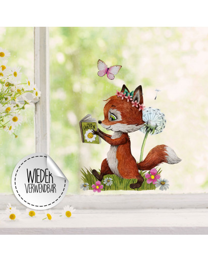 Fensterbild Fuchs Füchschen mit Buch Pusteblume Schmetterling -WIEDERVERWENDBAR- Fensterdeko Fensterbilder Frühlingsdeko Deko Dekoration bf35