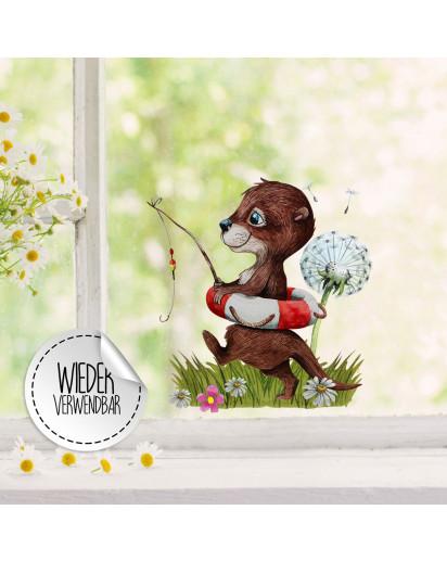 Fensterbild Otter angelt mit Schwimmring Pusteblume -WIEDERVERWENDBAR- Fensterdeko Fensterbilder Frühlingsdeko Deko Dekoration bf37