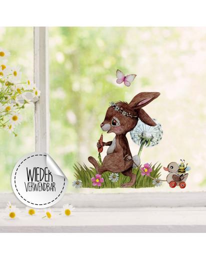Fensterbild Hase Häschen hinterherzieh Tier Pusteblume -WIEDERVERWENDBAR- Fensterdeko Fensterbilder Frühlingsdeko Deko Dekoration bf39