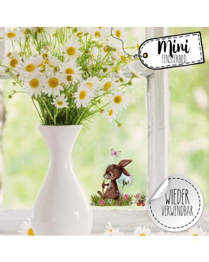 Mini-Fensterbild Hase Häschen hinterherzieh Tier Pusteblume -WIEDERVERWENDBAR- Fensterdeko Frühlingsdeko Mini-Fensterbilder Gr.9cm x 8cm Osterdeko Ostern bf39mini