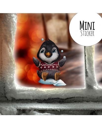Mini-Fensterbild Weihnachtsdeko Weihnachten Pinguin Schneeflocken -wiederverwendbar- Fensterdeko Winter Fensterbilder Kinder bf79mini