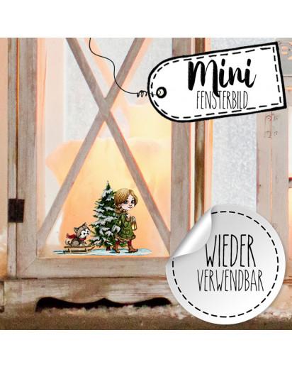 Mini-Fensterbild Weihnachtsdeko Weihnachten Mädchen Husky Hund Baum -wiederverwendbar- Fensterdeko Winter Fensterbilder Kinder bf85mini