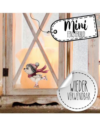 Mini-Fensterbild Weihnachtsdeko Eisbär Bär Schneeflocken -wiederverwendbar- Fensterdeko Winter Fensterbilder Kinder Zimmer bf88mini