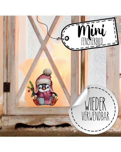 Mini-Fensterbild Weihnachtsdeko Pinguin Mütze Schneeflocken -wiederverwendbar- Fensterdeko Winter Fensterbilder Kinder Zimmer bf89mini
