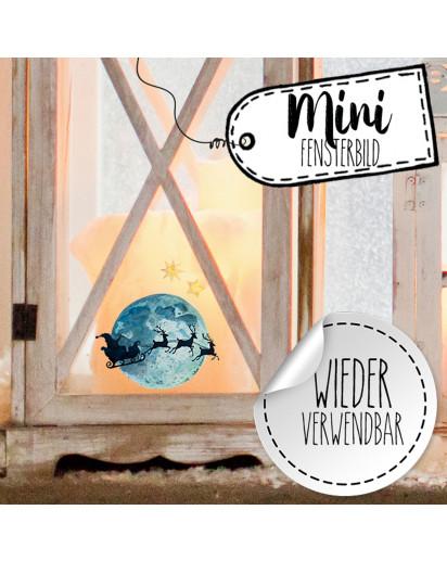 Mini-Fensterbild Weihnachtsdeko Vollmond Weihnachtsmann Sterne -wiederverwendbar- Fensterdeko Winter Fensterbilder Kinder bf90mini