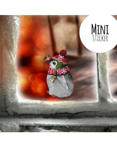 Mini-Fensterbild Weihnachtsdeko Weihnachten Pinguin Vogel -wiederverwendbar- Fensterdeko Winter Fensterbilder Kinder bf91mini