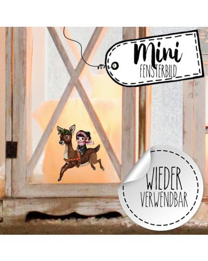 Mini-Fensterbild Weihnachtsdeko Mädchen Reh Sterne -wiederverwendbar- Fensterdeko Winter Fensterbilder Kinder Zimmer bf93mini