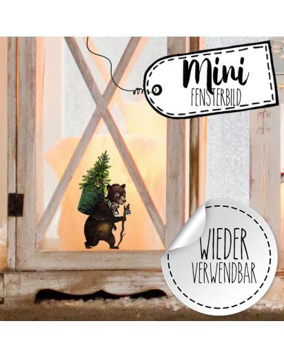 Mini-Fensterbild Weihnachtsdeko Bär-wiederverwendbar- Fensterdeko Winter Fensterbilder Kinder Zimmer bf95mini