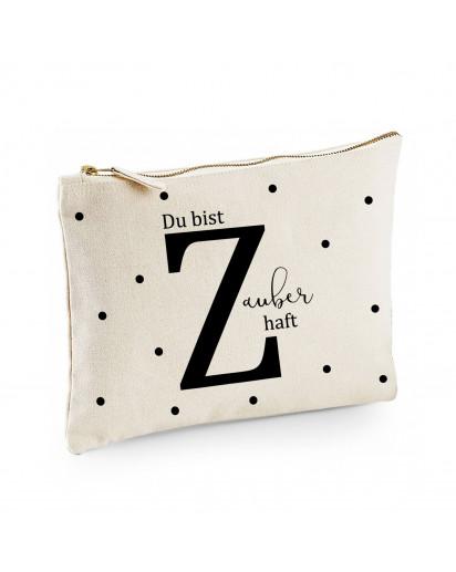Canvas Pouch Tasche Buchstabe Z mit Spruch Du bist Zauberhaft & Punkte Waschtasche Kulturbeutel individuell bedruckt cl1
