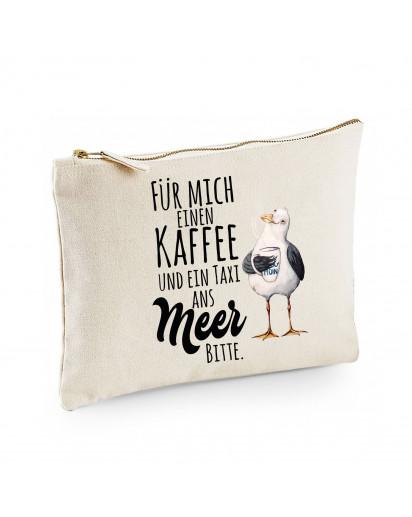 Canvas Pouch Tasche Möwe mit Pott Tasse & Spruch Kaffee und ein Taxi ans Meer Vogel Waschtasche Kulturbeutel individuell bedruckt cl11