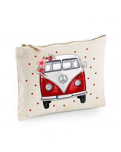 Canvas Pouch Tasche Bulli Bus rot türkis rosa gelb mit Blumen & Punkten frontal Front vorne Waschtasche Kulturbeutel cl41