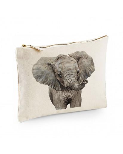 Canvas Pouch Tasche Elefant Waschtasche Kulturbeutel Kosmetiktasche individuell bedruckt cl52