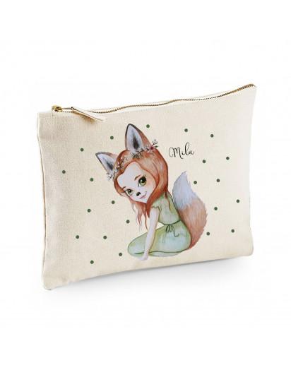 Canvas Pouch Tasche Waschtasche Fuchsmädchen Fara mit grünen Punkten individuell bedruckt mit Name Wunschname Kulturbeutel Motiv cl54