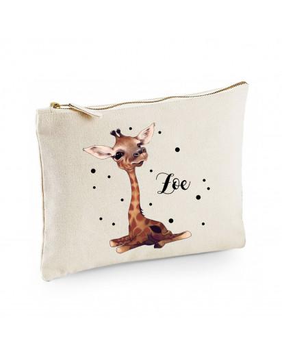 Canvas Pouch Tasche Waschtasche Giraffe & Punkte individuell bedruckt mit Name Wunschname Kulturbeutel Motiv cl59