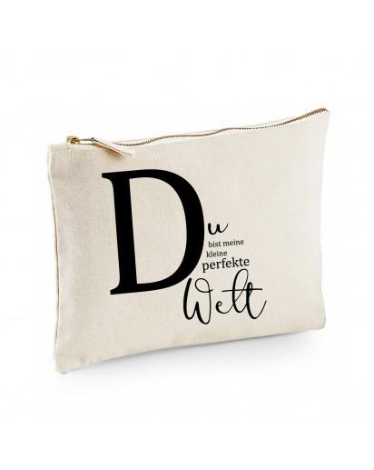 Canvas Pouch Tasche Buchstabe D mit Spruch Du bist meine perfekte Welt Waschtasche Kulturbeutel individuell bedruckt cl7
