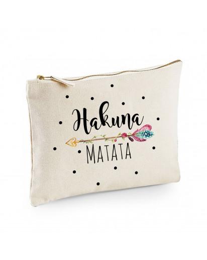 Canvas Pouch Tasche mit Spruch Hakuna Matata & Pfeil Motiv Punkte Waschtasche Kulturbeutel individuell bedruckt cl8