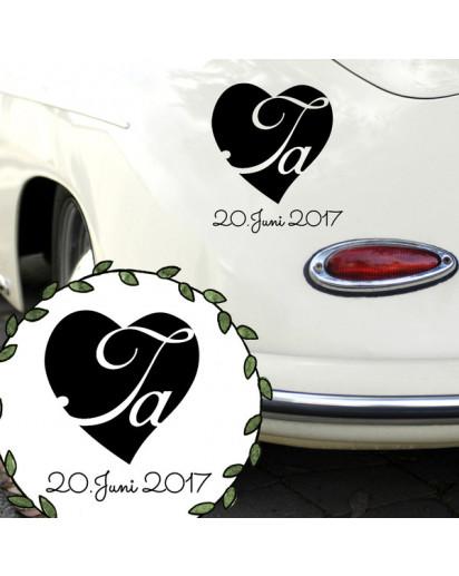 Autoaufkleber Autotattoo Hochzeit Ja mit Herz und Datum Hochzeitstag M2148