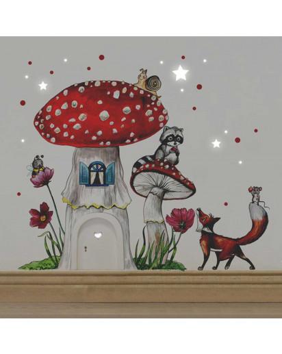 Elfentür Feentür Wichteltür Koboldtür mit Wandtattoo Wandaufkleber Wandsticker Aufkleber Sticker Fliegenpilz mit Waschbär Fuchs und Punkten elves door fairy door pixie door imp door gnome door with wall decal toadstool with raccoon fox and dots e07