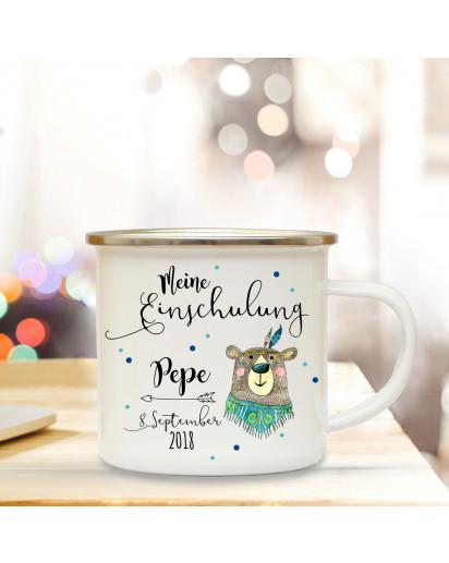 Emaille Becher Camping Tasse Boho Bär & Spruch meine Einschulung Kaffeetasse Geschenk mit Name Wunschname & Datum eb183