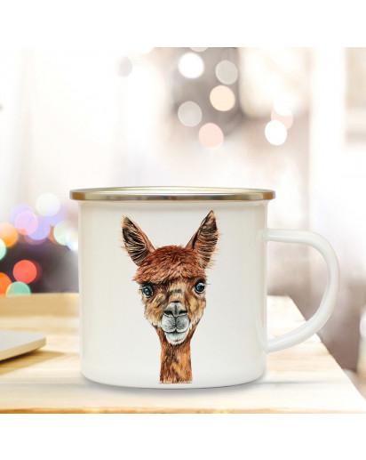 Emaillebecher mit Alpaka Motiv Campingtasse Alpakatasse Becher Kaffeetasse Geschenk eb213