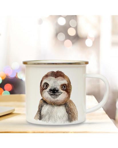 Emaillebecher mit Faultier Motiv Campingtasse Faultiertasse Becher Kaffeetasse Geschenk eb214