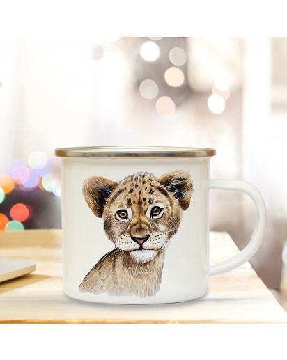Emaillebecher mit Löwe Motiv Campingtasse Löwentasse Becher Löwentasse Kaffeetasse Geschenk eb218