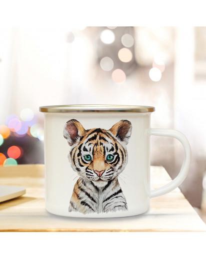 Emaillebecher mit Tiger Motiv Campingtasse Tigertasse Becher Tigerbecher Kaffeetasse Geschenk eb220