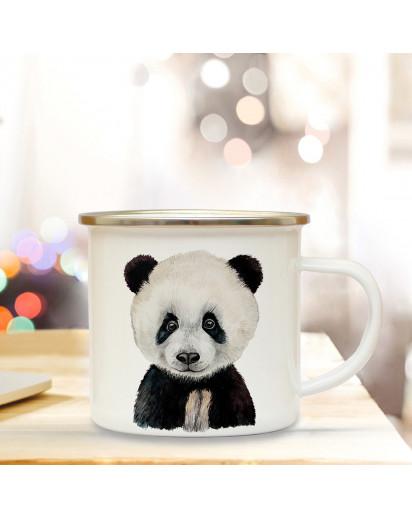 Emaillebecher mit Panda Motiv Campingtasse Pandatasse Becher Pandabecher Kaffeetasse Geschenk eb221