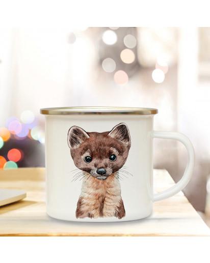 Emaillebecher mit Marder Motiv Campingtasse Mardertasse Becher Marderbecher Kaffeetasse Geschenk eb224