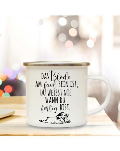 Emaillebecher Motto das Blöde am faul sein mit Faultier Campingtasse mit Spruch Kaffeetasse Geschenk eb244