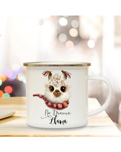 Emaillebecher mit Lama & Motto No Drama Llama Campingtasse mit Spruch Kaffeetasse Geschenk eb247