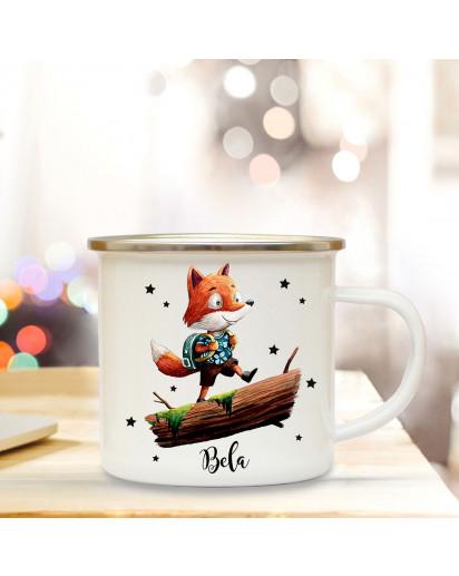 Emaillebecher mit Fuchs & Name Wunschname Campingtasse mit Füchschen Kaffeetasse Geschenk eb248