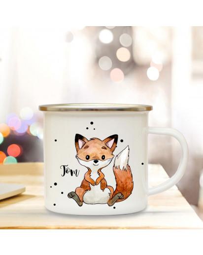 Emaillebecher mit Fuchs & Name Wunschname Campingtasse mit Füchschen Kaffeetasse Geschenk eb251