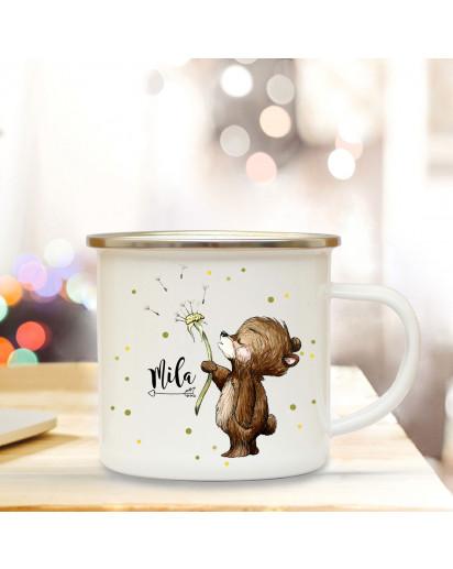 Emaillebecher mit Bär Pusteblume & Name Wunschname Campingtasse mit Punkte Kaffeetasse Geschenk eb254